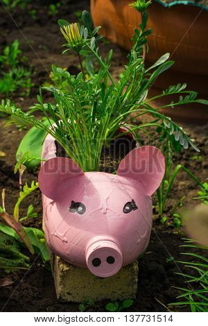 decoration for garden pot puppets with flowers