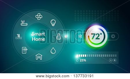 Smart home control panel concept with temperature fahrenheit degree setting
