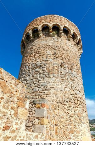 Medieval tower in the old fortress town of Tossa de mar.