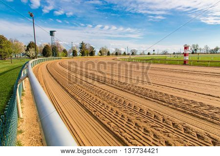 Lexington KY. USA - April 1 2016. Keeneland racetrack groomed in preparation to host the 2016 Spring Race. Keeneland is considered to be the premier thoroughbred horse racing facility in the USA.