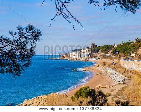 Beach and village of Sant Pol de Mar, Catalonia, Spain