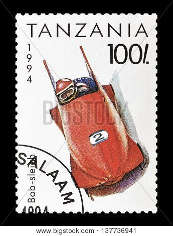 TANZANIA - CIRCA 1994 : Cancelled postage stamp printed by Tanzania, that shows Bob sleigh.