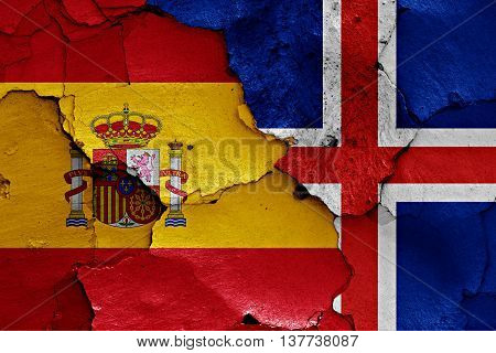 Flags Of Spain And Iceland Painted On Cracked Wall