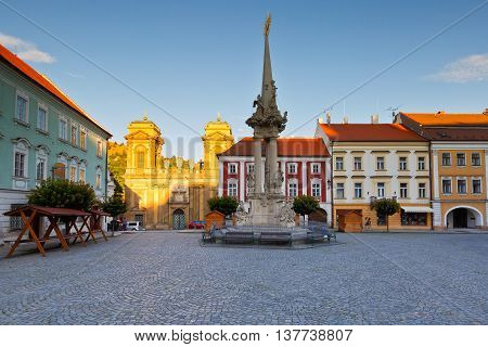 Historic old town of Mikulov in Moravia, Czech Republic.