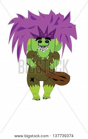 Illustrated mountain troll holding wooden club with purple hair.