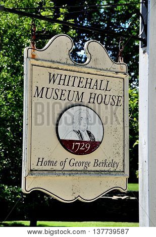 Middletown Rhode Island - July 16 2015: Sign at the historic 1729 Whitehall Museum House home of George Berkeley