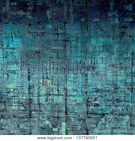 Grunge texture or background with retro design elements and different color patterns: blue; cyan; gray; black