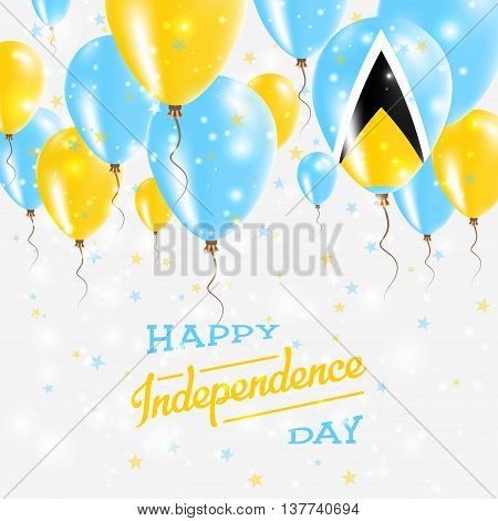 Saint Lucia Vector Patriotic Poster. Independence Day Placard With Bright Colorful Balloons Of Count