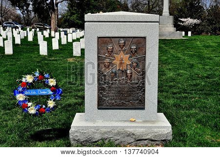 Arlington Virginia - April 12 2014: Space Challenger Memorial at Arlington National Cemetery honours the seven astronauts who perished minutes into the flight *