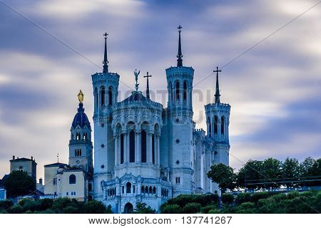 The Notre Dame Cathedral on top of Fourviere hill in Lyon, France