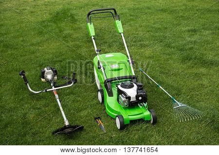 Outdoor shot of garden equipment. lawn, mower