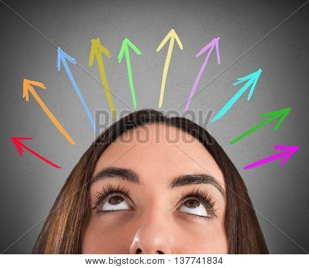 Woman with eyes up and arrow over her head