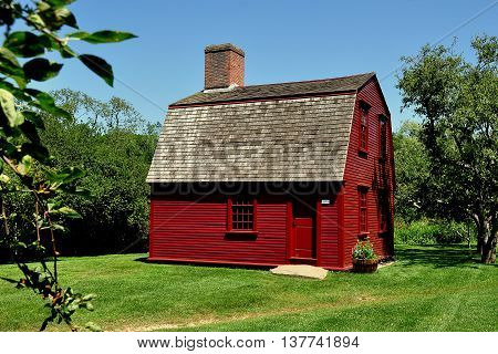 Middletown Rhode Island - July 16 2015: C. 1700 Guard House General Prescott's Revolutionary War Headquarters at Prescott Farm Historic Site