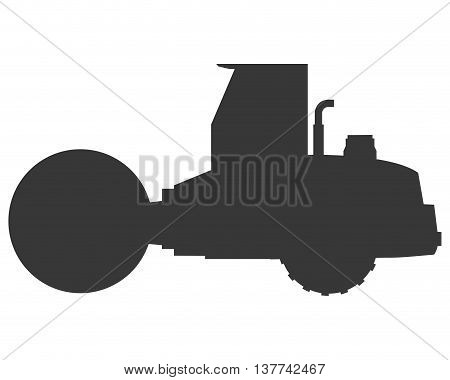 flat design steamroller machine icon vector illustration