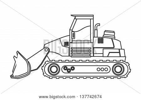 flat design backhoe machine icon vector illustration