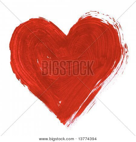 Painting of big red heart over white background