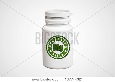 Bottle Of Pills With Magnesium Mg