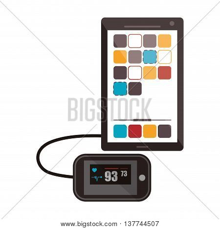 flat design modern cellphone with heartrate monitor icon vector illustration