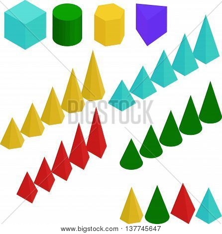 colored diagram. Graph chart and pyramid and prism signs isolated on white.