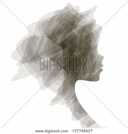 Elegant silhouette greeting card design with illustration of young girl. Fashion profile beauty salon. abstract girl hair. air design concept for beauty salon, spa, massage