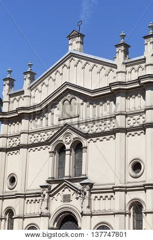 Facade of Tempel Synagogue in jewish district of Krakow - Kazimierz Poland