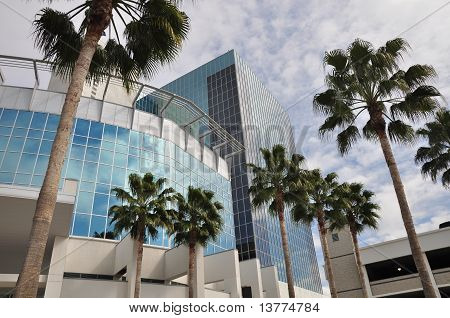 Tower and palm trees