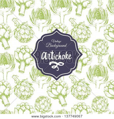 Vegetables vintage pattern. Hand-drawn sketch of artichoke.