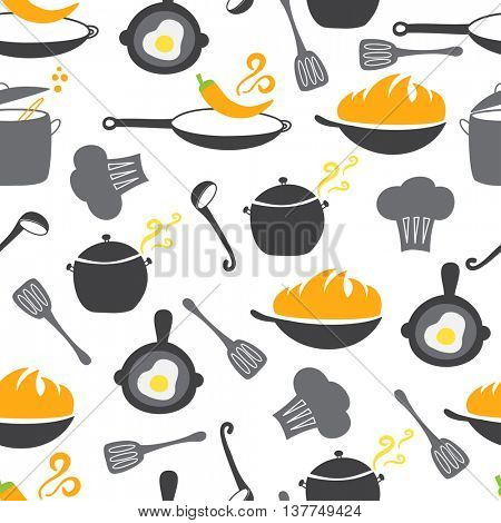 Kitchen elements seamless pattern. Wok, pan, pot, soup, fried egg, spoon, scoop, chilli pepper, stewpot
