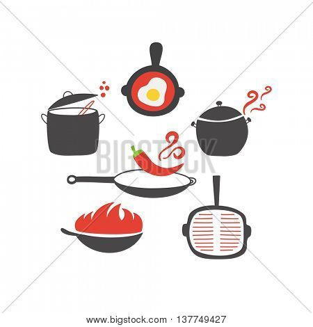 Kitchen elements and  utensils icon on white background. Wok, pan, pot, soup, fried egg, spoon, scoop, chilli pepper, stewpot