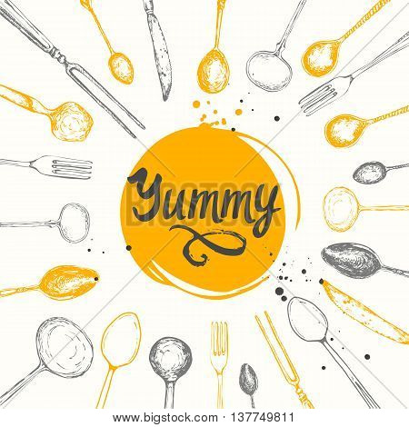 Vector Illustration with funny eating utensils on white background. Decorative elements for your packing design. Multicolor decor.