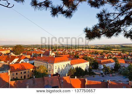 Historic town of Mikulov in Moravia, Czech Republic.