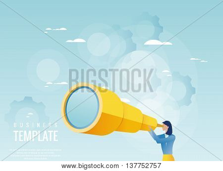 Creative business concept. Businesswoman holding spyglass, business visionary