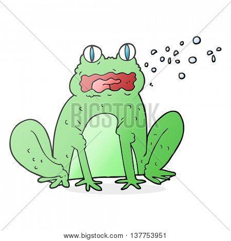 freehand drawn cartoon burping frog poster