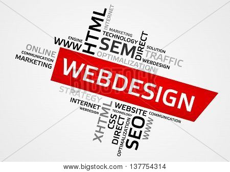 Webdesign Word Cloud, Tag Cloud, Vector Graphics