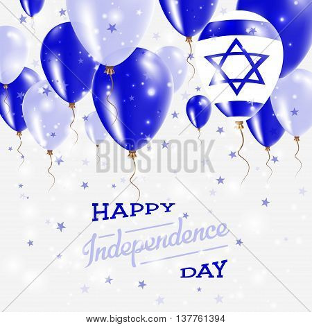 Israel Vector Patriotic Poster. Independence Day Placard With Bright Colorful Balloons Of Country Na