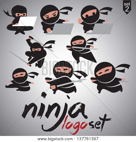 ninja logo set 2 concept designed in a simple way so it can be use for multiple proposes like logo ,marks ,symbols or icons.