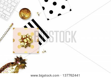 Flat lay office items on the table. White background, modern mock-up.