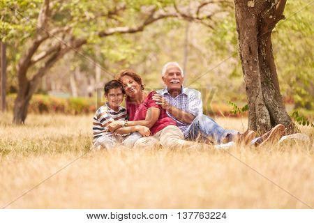 Grandparents Senior Couple Hugging Young Boy On Grass
