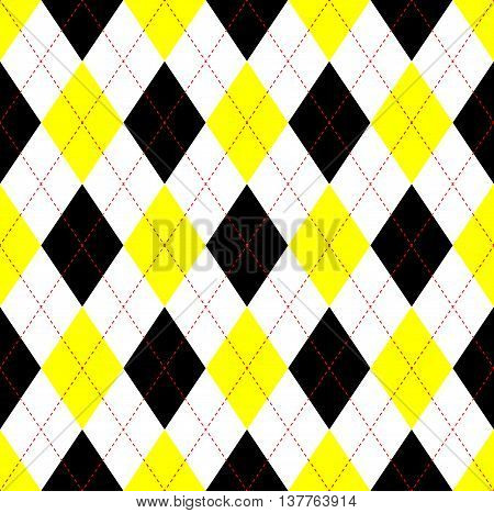 Seamless argyle pattern in yellow, black & white with red stitch.