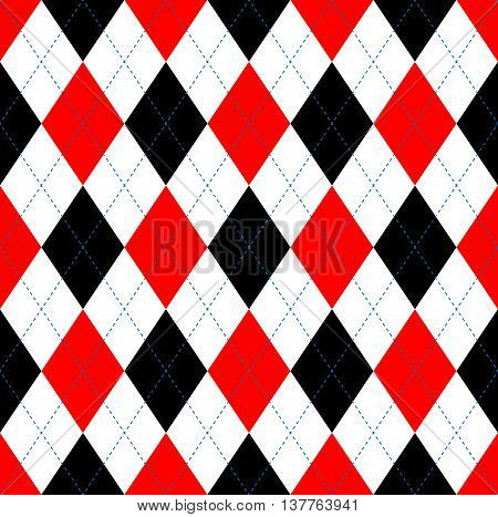 Seamless argyle pattern in red, black & white with blue stitch.