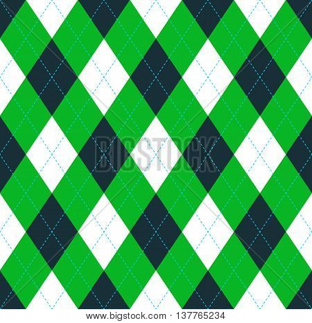 Seamless argyle pattern in dark green, lime green & white with blue stitch. Traditional checkered/diamond textile pattern print for jerseys, sweaters, polo shirts, golf uniforms.