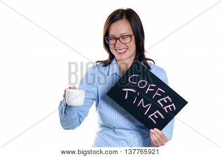Smiling woman with coffee cup and blackboard on a white background