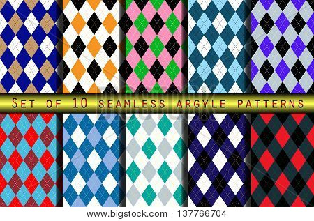 Set of ten seamless argyle patterns. Classic textile design: socks, sweaters, pants, jerseys, team uniforms for golf, basketball, cycling, curling, yachting.
