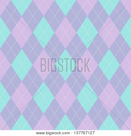 Pastel palette seamless argyle pattern in pale turquoise blue, pale lavender gray & pale pink with white stitch.