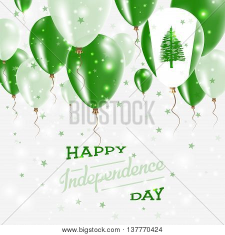 Norfolk Island Vector Patriotic Poster. Independence Day Placard With Bright Colorful Balloons Of Co
