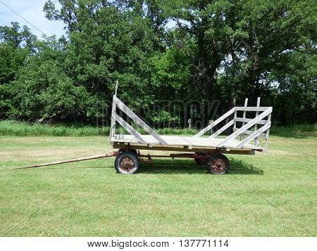 An old loose hay hayrack often used with a sling and block and tackle.