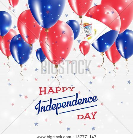 Sint Maarten Vector Patriotic Poster. Independence Day Placard With Bright Colorful Balloons Of Coun