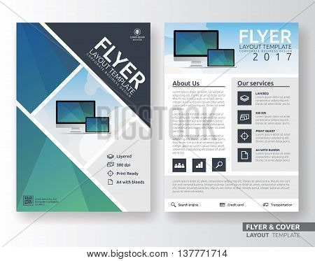 Multipurpose corporate business flyer layout design. Suitable for flyer brochure book cover and annual report. green and blue color in A4 size template background with bleeds. Vector illustration