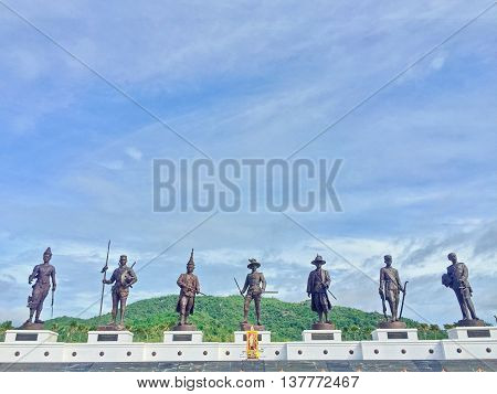 Statue of King of Thailand in the past at huahin , Thailand