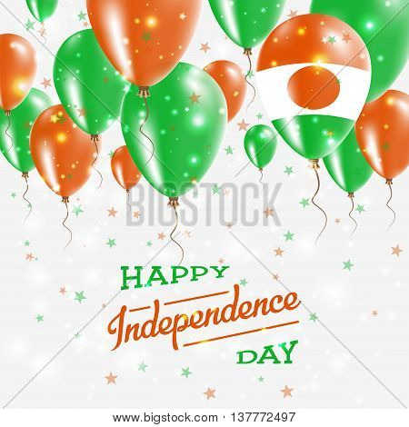 Niger Vector Patriotic Poster. Independence Day Placard With Bright Colorful Balloons Of Country Nat